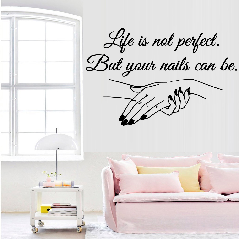 Salon Décoration Us 1 66 11 Off Exquisite Vinyl Decal Nail Salon Quotes Wall Sticker Art Mural Beauty Salon Decoration Decals For Women Girls Bedroom Decor In Wall