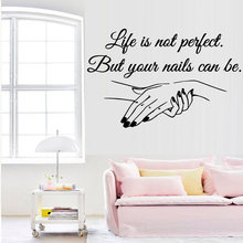 Exquisite Vinyl Decal Nail Salon Quotes Wall Sticker Art Mural Beauty Salon Decoration decals for women girls bedroom decor(China)