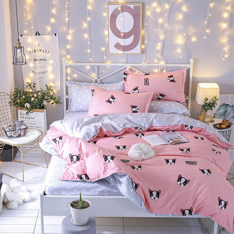 Hot Design Bedding Set Animal Pug Dog Pink Duvet Cover Flat Sheet Pillowcase Quilt Cover Bed Set Full Queen King