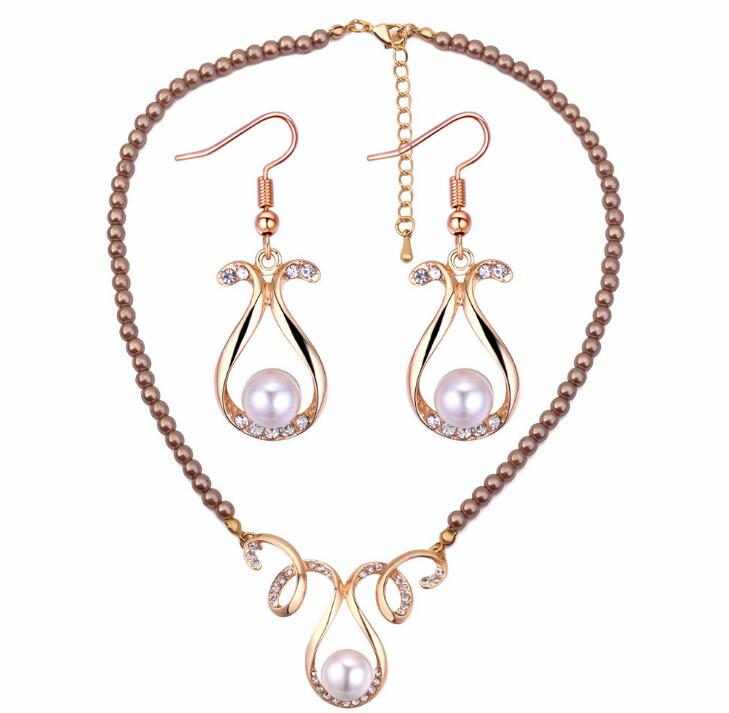 Poem snow Fashionable elegant temperament vase fake Pearl Earrings Necklace Jewelry suit