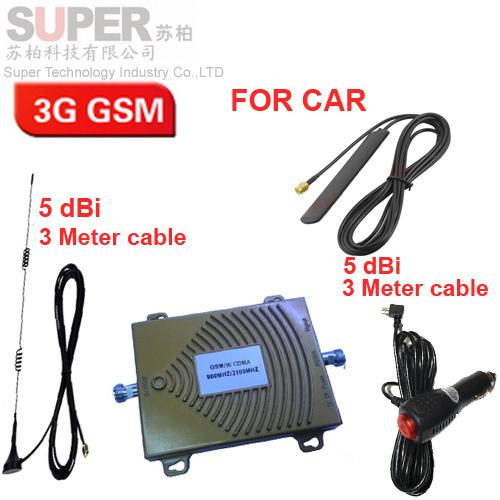Para A Rússia carro reforço dual band GSM impulsionador 900 Mhz 3G WCDMA 2100 Mhz impulsionador 3G repetidor para o carro, o uso do carro do impulsionador GSM 3G repetidor