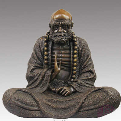 Bodhidharma copper, Bodhi Dharma, Buddhism, Buddha, Dharma statue, figure, figurine, Small size, Onsale, home decor ~