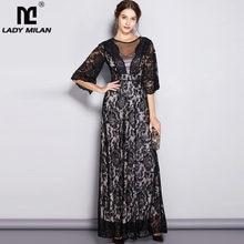 Женское модельное дизайнерское платье с круглым вырезом и короткими