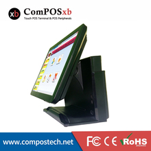 """15"""" All in One Touch Screen POS Terminal With Card reader And VFD Customer Display Black/White Color For Options"""