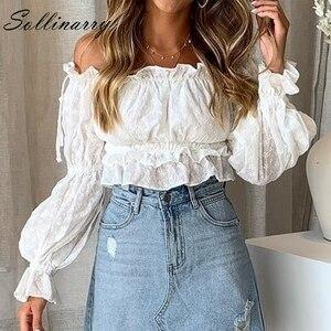 Image 1 - Женская блузка Sollinarry, белая блузка с вырезом лодочкой и рукавами фонариками, 2019