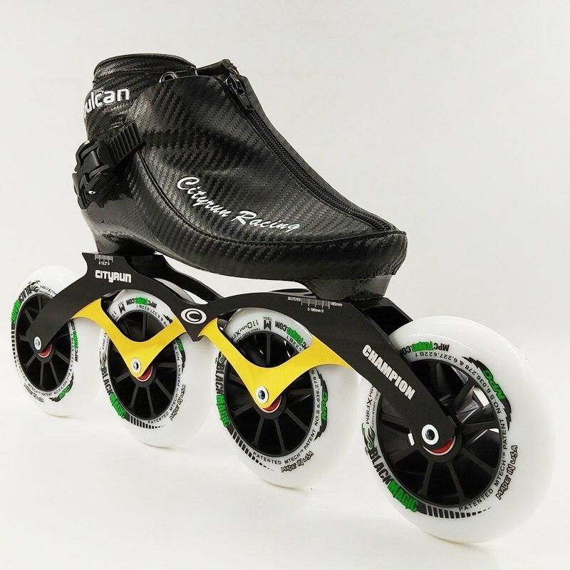 プロフェッショナルスピードスケート靴レーシングスケート新しい到着男性/女性インラインスケート4車輪大人/キッズブーツ大豆ルナ  グループ上の スポーツ & エンターテイメント からの スケートシューズ の中 1
