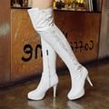 Novo As Meninas Das Mulheres Preto Branco PU + Lycra Lacing Plataforma Cabeça Redonda sobre O Joelho Botas Altas Botas de Zíper Lateral Sapatos de Salto Alto US4.5-10.5