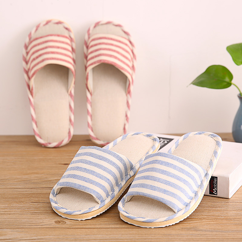KESMALL 2019 Summer Shoes Men Beach Sandals Flip Flops Striped Linen Male Casual Sneakers For Home Indoor Slippers Erkek Terlik