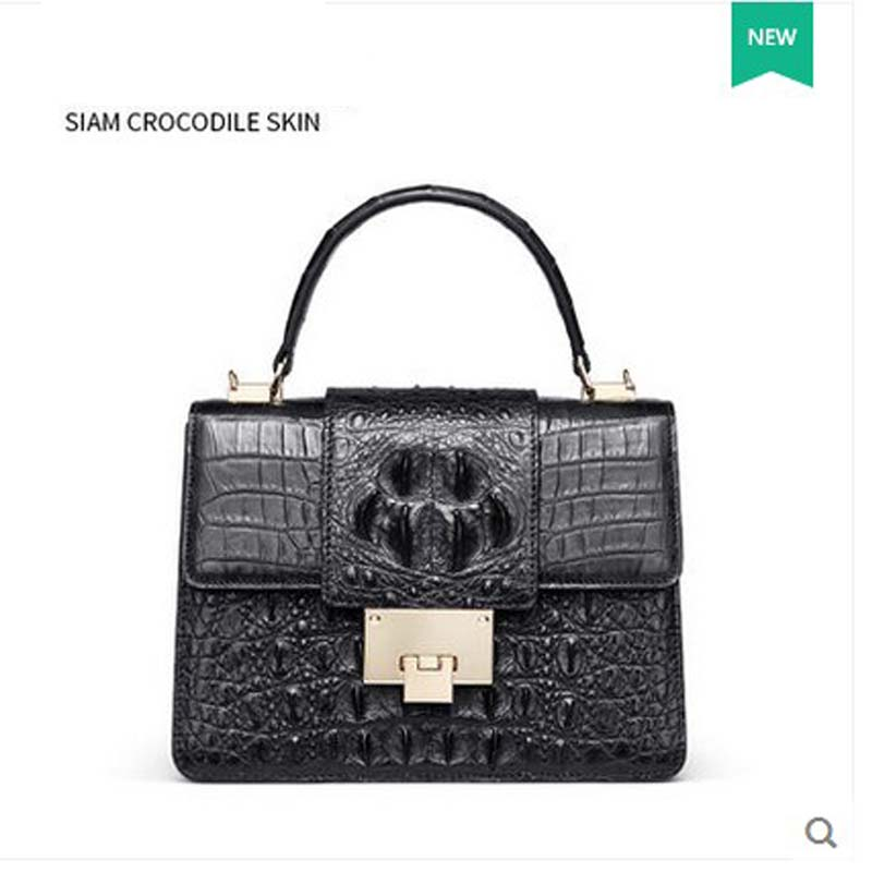 gete new crocodile skin women handbag female bag with single shoulder bag female Thai crocodile leather women bag lady bag delin foreign female bag bag handbag shoulder aslant crocodile grain lady handbags package a undertakes the new trend