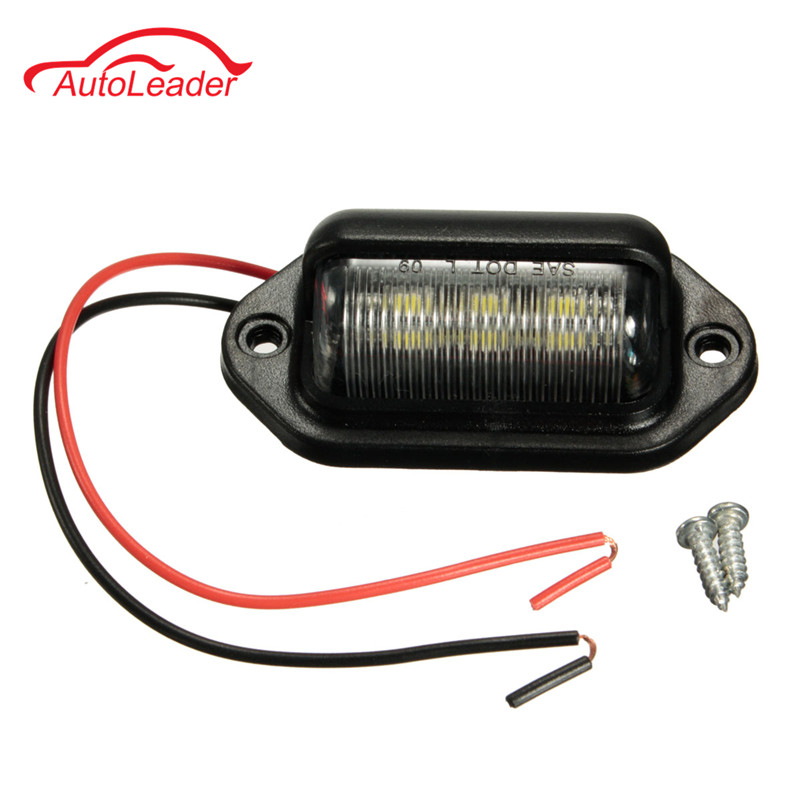 12V 6LEDs License Plate Light Lamp Bulbs Number Plate Light for Motorcycle Boats Aircraft Automotive Trailer RV Truck White 6 leds fence lamp