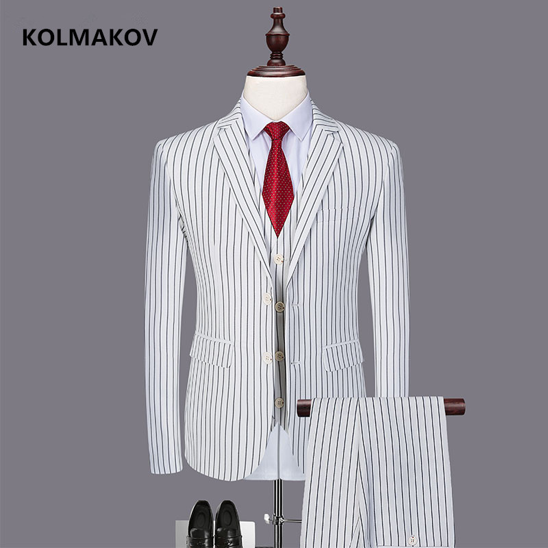 (Jacket + Vest + Trousers) New Striped Men's Suit Classic Three-piece Business Casual Suit For Men 2019 Spring Size M-6XL