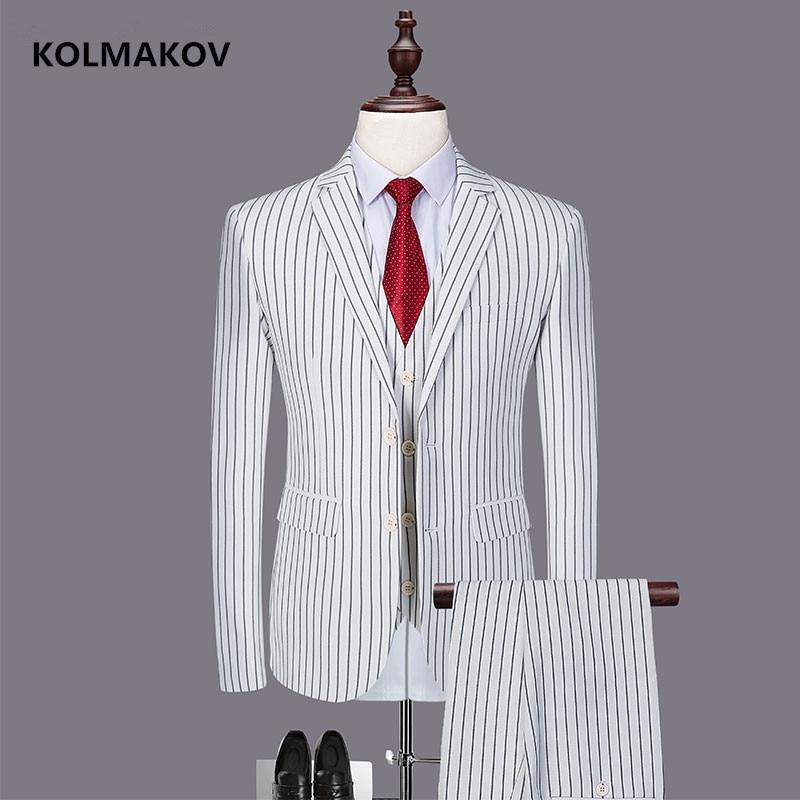 (Jacket + Vest + Trousers) New Striped Men's Suit Classic Three-piece Business Casual Suit For Men 2019 Spring Size M-6XL
