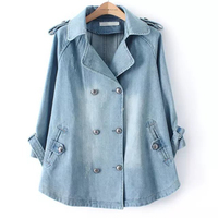 Autumn Winter Women Fashion Long Dress Coat Denim Jacket 3/4 Sleeve Double Breasted basic Jeans coat FS0157