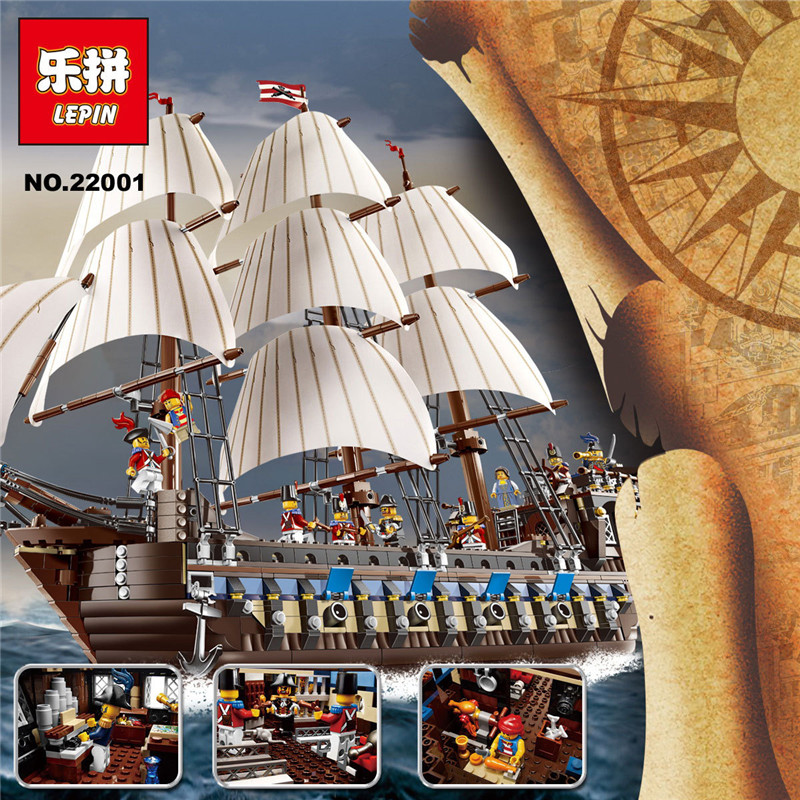 Lepin 22001 Pirate Ship Imperial Warships Model Building Kits Blocks 1717pcs Brick Toy Compatible With LEPIN 10210 cl fun new pirate ship imperial warships model building kits block briks boy toys gift 1717pcs compatible 10210