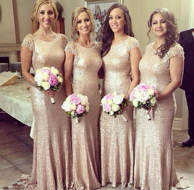 Champagne gold Long   Bridesmaid     Dresses   Sequined Short Sleeve Floor Length   Bridesmaid     Dress   2018 Prom Gown Wedding Party   Dress