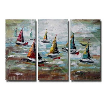 Hand Painted Modern Abstract Wall Artwork Seascape Oil Painting on Canvas Handmade Boats Sailing Landscape Home Decor Pictures