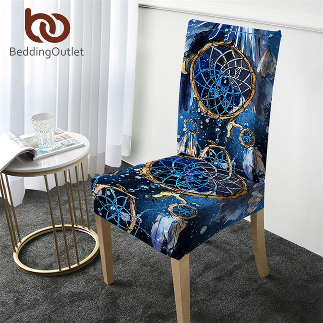 BeddingOutlet Dreamcatcher Chair Cover Blue Spandex Anti-dirty Slipcover Boho Restaurant Seat Case Stretch Cover copri sedia