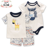 HG hill SS18 0082 summer fashion cartoon tops and short and romper 3pcs outfits printing suit baby boys boutique clothing sets