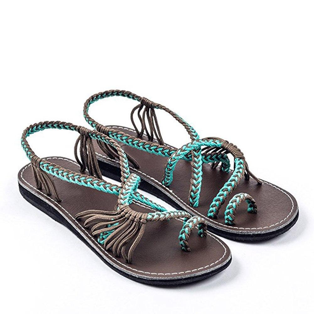 fde297ac6 Women Flat Shoes Sandals Ladies Nylon Rope Flip Flops Sandal Summer ...