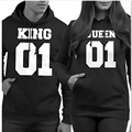 Popular Valentine Matching Couples autumn winter Sport Sweaters Woman Man Printed King Queen Hoodies Pullover Tops Suit