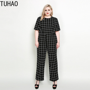 TUHAO 2019 women summer office lady jumpsuit plaid short sleeve plus size 7XL 6XL 5XL woman overalls elegant jumpsuit clothes RL
