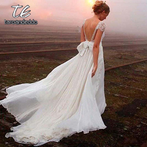 Image 2 - V Neck Backless Wedding Dresses Zipper Back Cap Sleeve Lace Appliques A Line Bridal Gown Dress with Court Train and Bow