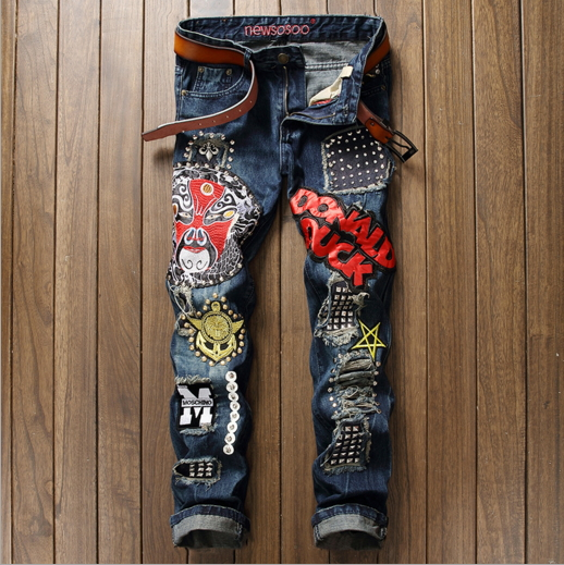 2017 ripped jeans for men high quality blue color jeans men size 29 38 new brand