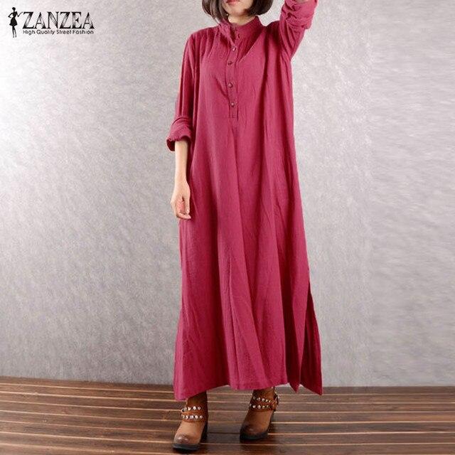7f4af47aa53c1 Plus Size ZANZEA Women Split Hem Cotton Linen Stand Collar Long Sleeve  Vintage Buttons Baggy Kaftan Party Vestido Maxi Dress
