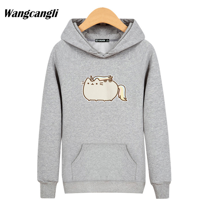 2018 New Anime pusheen Lazy Cat cant move Sweatshirt Hoodies Black/Gray Hoodie Autumn Winter Hip Hop Street Wear Style Jacket