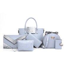 Woman 6 piece Handbags Sets for Women Bags Fashion 2016 Large Tote Crocodile Bag Ladies Handbag Famous Brands Bolsas Mujer N182