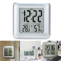 LCD Display Hygrometer Bathroom Thermometer Clock Shower Large Screen Square Waterproof