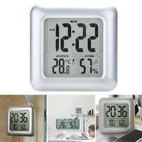 LCD Display Hygrometer Bathroom Thermometer Clock Shower Large Screen Square Waterproof