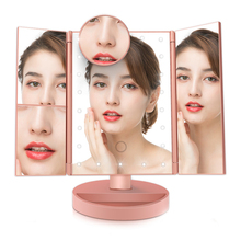 Equipped Touch Screen 22 LEDs Makeup Mirror Table Makeup 1X/2X/3X/10X Magnifying Mirrors Vanity 3 Folding Adjustable Mirror tri fold adjustable 24 led lights dimmable mirror 1x 2x 3x magnifying make up mirror bathroom tabletop mirror for beauty makeup