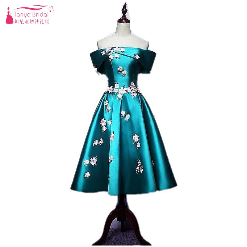 Fuera del hombro corto Vestidos de baile 2017 Bordado turquesa verde  satinado vestido de noche vestido de festa 3ab7414d297d