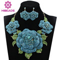 Blue African Jewelry Sets Wedding Jewelry Sets Crystal Rhinestone Flowers Party Fashion Jewelry Set Necklace Earrings WC001