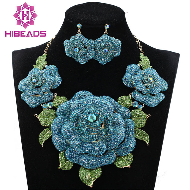 Blue African Jewelry Sets Wedding Jewelry Sets Crystal Rhinestone Flowers  Party Fashion Jewelry Set Necklace Earrings WC001 a5fbbfd42502