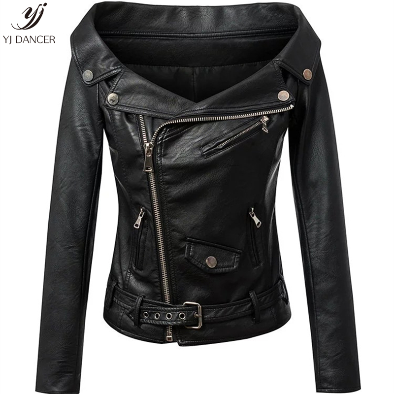2018 Fashion New High quality Autumn Women's Zipper Word Collar Off-The-Shoulder Fashion   Leather   Jacket Female Coat HJB216