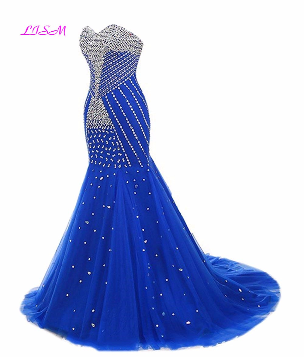 Luxury Crystals Mermaid Long Evening Formal Dress Royal Blue Sweep Train Tulle Prom Gowns Vintage Beaded Robe Dubai Soiree