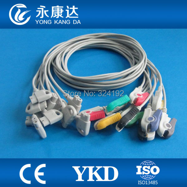 Hot sale!!One-piece 10-lead EKG cable with leads,IEC/Grabber leadwires 10-leads/set,free shippingHot sale!!One-piece 10-lead EKG cable with leads,IEC/Grabber leadwires 10-leads/set,free shipping