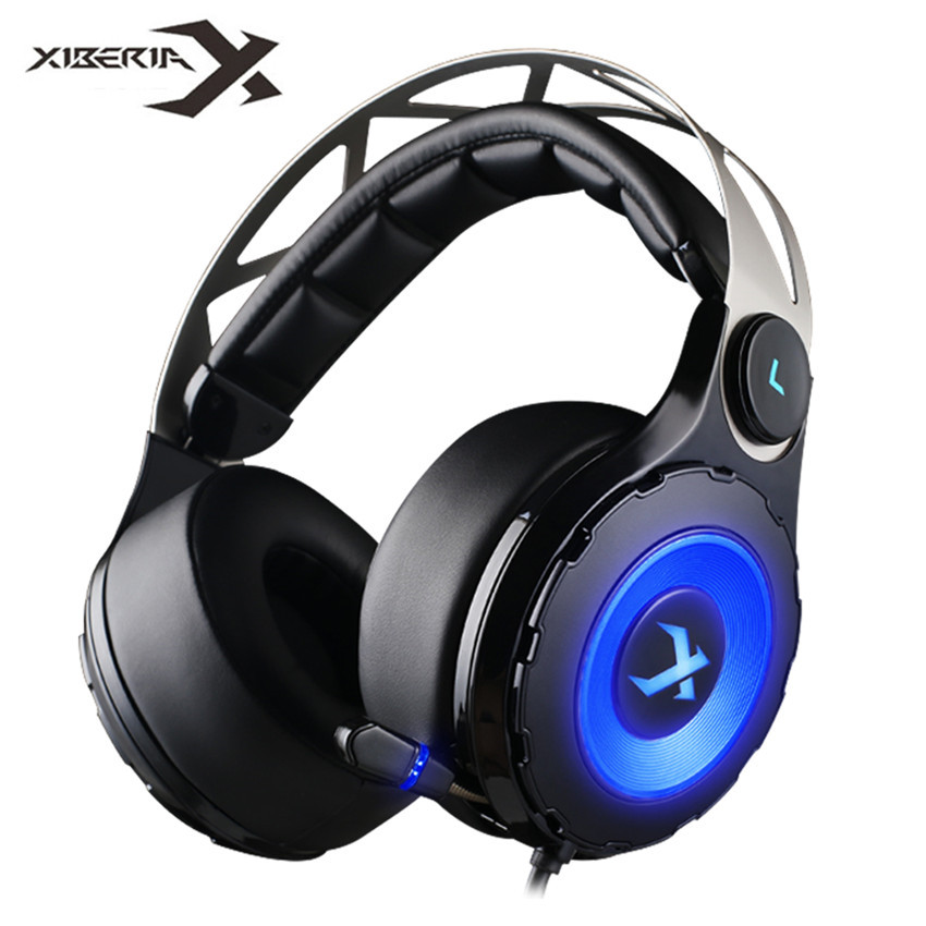 Xiberia T18 Pro USB 7.1 Surround Sound Gaming Headset Wired Computer Headphone Deep Bass Game Earphone With Mic LED for PC Gamer each g1100 shake e sports gaming mic led light headset headphone casque with 7 1 heavy bass surround sound for pc gamer