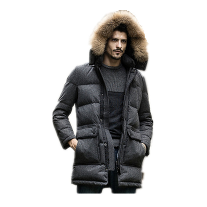 2017  Fashion Winter New Men 's Down Jacket Long Down Jacket Men' s Thick Down Jacket  Cotton Jacket And Long Sections