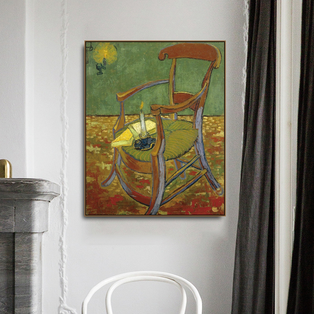 Gauguin's chair by Vincent Von Gogh Poster Print Canvas Painting Calligraphy Home Decor Wall Art Picture for Living Room Bedroom(China)