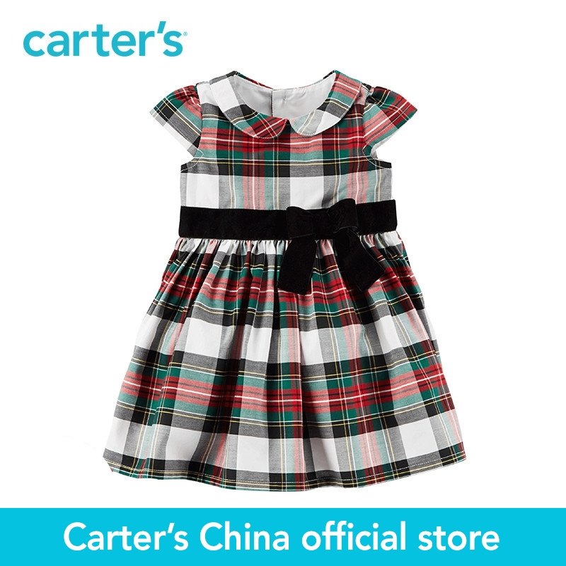 Carters 1-piece baby children kids clothing Girl Spring Summer Plaid Holiday Dress 120G169