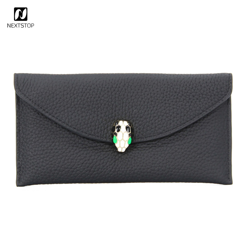 Genuine leather 2018 Snakeheads wallet Simple slim 2 fold female clutch bag Long multifunctional purse phone bag 6 card slots