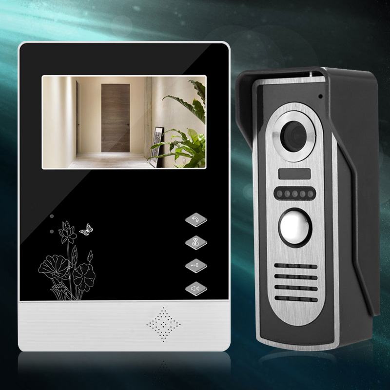 4 3 Inch TFT LCD Video Intercom Doorbell System 1 Monitor Screen Door Phone 1 IR