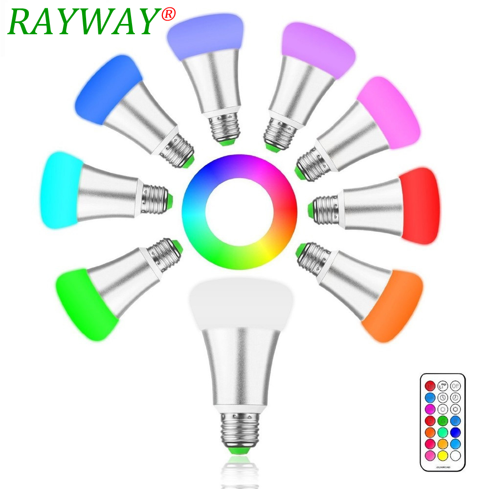 RAYWAY 10W E27 RGB LED Light Bulb 12 Color Cool/Warm White Dimmable Lamp with Remote ControlTiming Function for Bars Restaurant