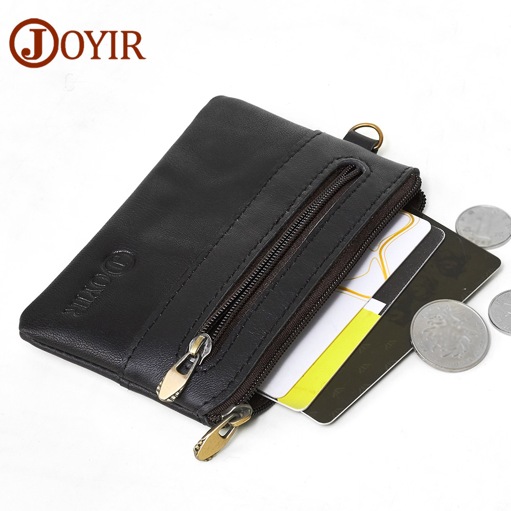 JOYIR Coin Purse Men Genuine Leather Wallets Men Wallet Women Vintage Slim Zipper Short Wallets Card Holder Pouch For Cards 2060 joyir genuine leather men wallets vintage zipper long wallet male men clutch bags slim coin purse men leather wallet card holder