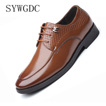 купить SYWGDC Dress Shoes Men Leather Oxfords Shoes For Men Formal Business Men Wedding Party Brogue Shoes Sapato Social Masculino дешево