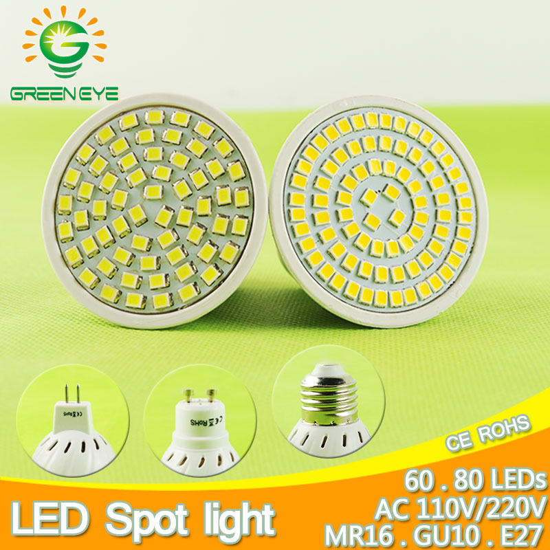 60/80LEDs E27 Gu10 Mr16 DC 12V AC 110V 220V LED Lamp LED Spotlight 6W 8W GU10 Spot Light Lampada LED Bulb Lighting Foyer Lampara