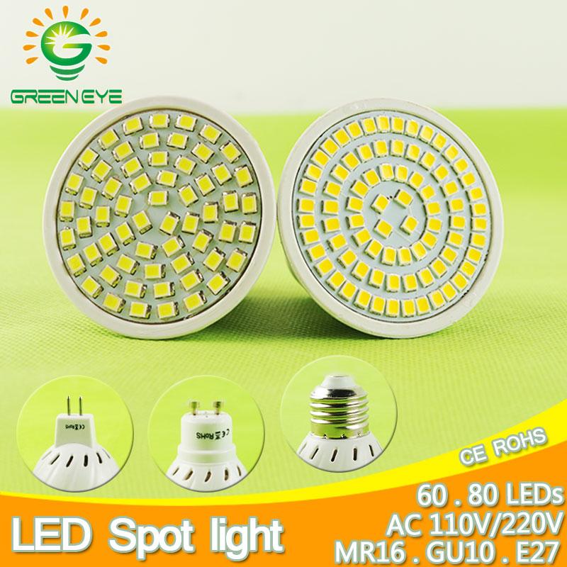 60/80LEDs E27 Gu10 Mr16 DC 12V AC 110V 220V LED Lamp LED Spotlight 6W 8W GU10 Spot Light Lampada LED Bulb Lighting Foyer Lampara